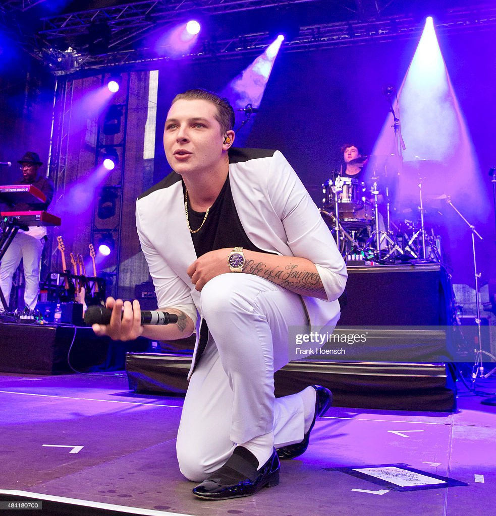 British singer John Newman performs live during a concert at the Energy Music Tour at the Kulturbrauerei on August 15 2015 in Berlin Germany
