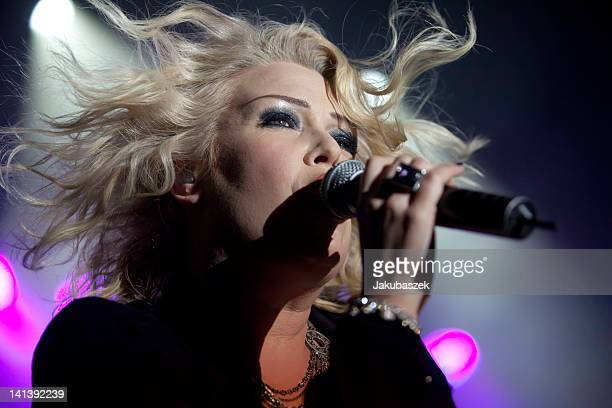 British singer Kim Wilde performs live during a concert at the Columbiahalle on March 15 2012 in Berlin Germany
