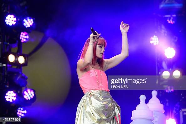 British singer Lily Allen performs on the Pyramid Stage on the first official day of the Glastonbury Festival of Music and Performing Arts in...