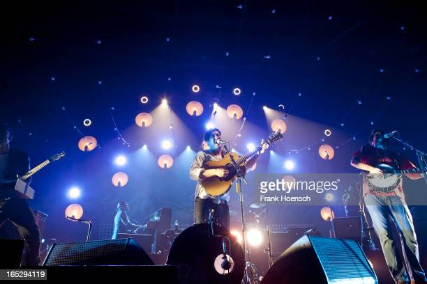 British singer Marcus Mumford of Mumford Sons performs live during a concert at the Velodrom on April 2 2013 in Berlin Germany