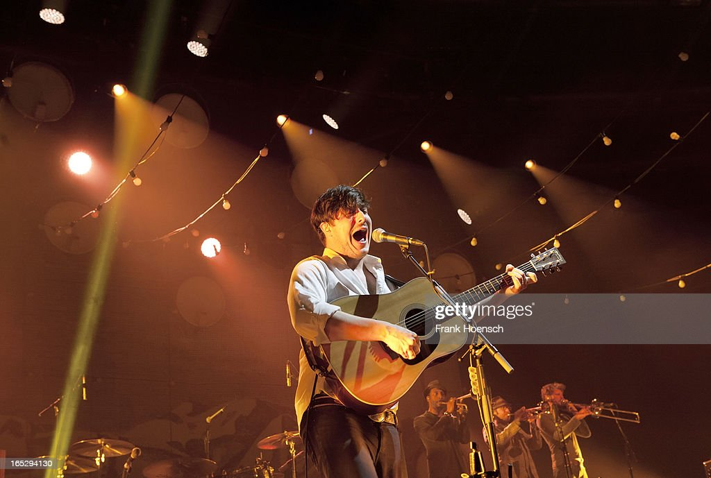 British singer <a gi-track='captionPersonalityLinkClicked' href=/galleries/search?phrase=Marcus+Mumford&family=editorial&specificpeople=5385533 ng-click='$event.stopPropagation()'>Marcus Mumford</a> of Mumford & Sons performs live during a concert at the Velodrom on April 2, 2013 in Berlin, Germany.