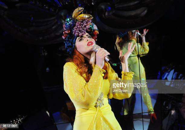 British singer Paloma Faith performs at Shepherds Bush Empire on March 29 2010 in London England