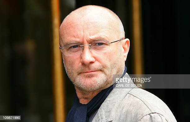 British singer Phil Collins arrives for the Ivor Novello music awards in London on May 22 2008 The Ivor Novello music awards recognise the best...