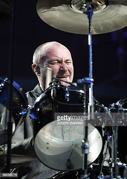 British singer Phil Collins performs 05 November 2005 at Biel in Beirut Collins held one night concert organaized by Festive Lebanon which regroups...