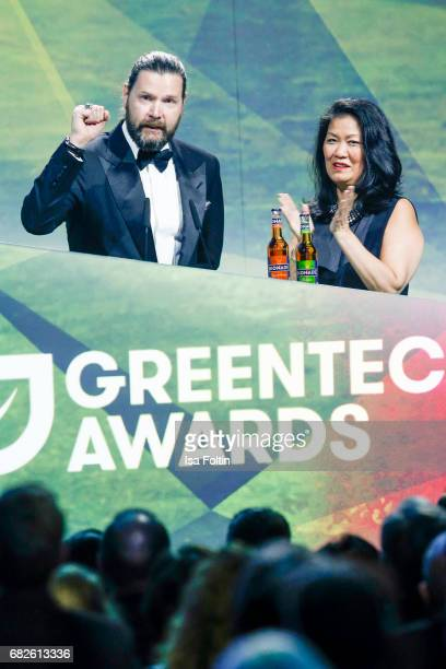 British singer Rea Garvey and Melody HarrisJensbach CEO Jack Wolfskin during the GreenTec Awards Show at ewerk on May 12 2017 in Berlin Germany