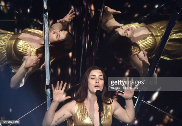 British singer representing United Kingdom with the song 'Never give up on you' Lucie Jones performs during the Grand Final rehearsal of the...