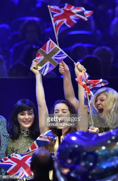 British singer representing United Kingdom with the song'Never give up on you' Lucie Jones reacts during vote counting during the final of the 62nd...
