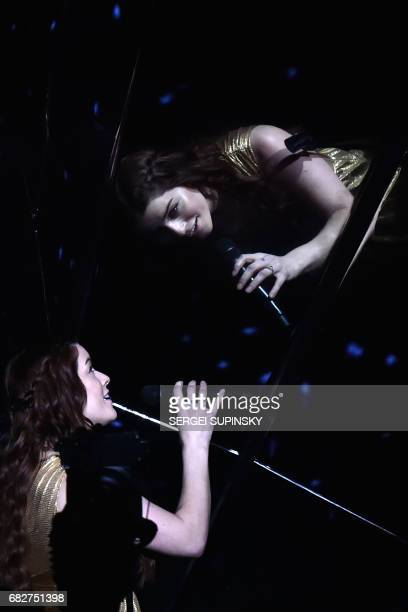 British singer representing United Kingdom with the song'Never give up on you' Lucie Jones performs on stage during the final of the 62nd edition of...