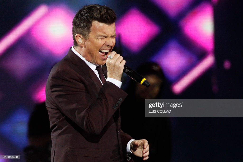 British singer Rick Astley performs during at the 57th of the song festival in Vina del Mar Chile on February 25 2016 / AFP / ATON CHILE / LUIS COLLAO