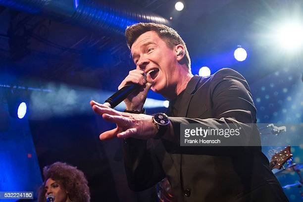 British singer Rick Astley performs live during a concert at the Schwuz on May 18 2016 in Berlin Germany