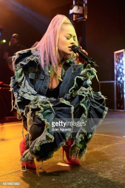 British singer Rita Ora performs a Showcase at Joy Eslava on July 3 2014 in Madrid Spain