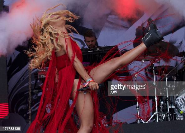 British singer Rita Ora performs on the Pyramid Stage on the third day of the Glastonbury Festival of Contemporary Performing Arts near Glastonbury...