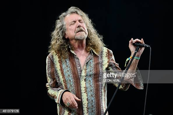British singer Robert Plant performs on the Pyramid Stage on the second day of the Glastonbury Festival of Music and Performing Arts in Somerset...