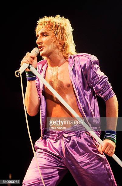 British singer Rod Stewart performs onstage at the Uptown Theater Chicago Illinois May 2 1979