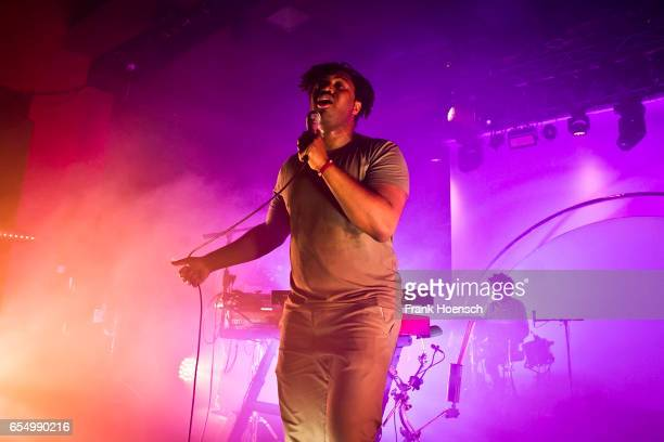 British singer Sampha Lahai Sisay aka Sampha performs live during a concert at the Astra on March 18 2017 in Berlin Germany