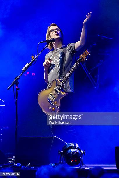 British singer Steven Wilson performs live during a concert at the Tempodrom on January 18 2016 in Berlin Germany