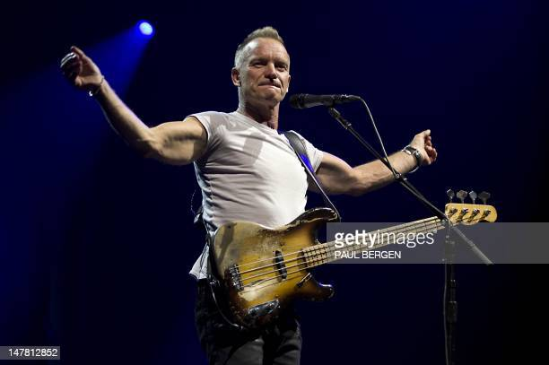 British singer Sting performs during a concert at the Ziggo Dome in Amsterdam on July 3 2012 AFP PHOTO / ANP / PAUL BERGEN
