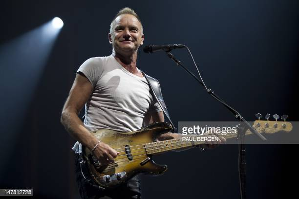 British singer Sting performs during a concert in the Ziggo Dome in Amsterdam on July 3 2012 AFP PHOTO / ANP / PAUL BERGEN
