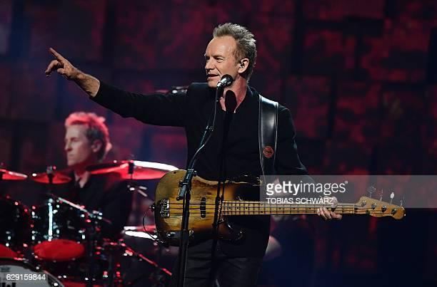 British singer Sting performs during the Nobel Peace Prize concert on December 11 2016 in Oslo Norway / AFP / TOBIAS SCHWARZ