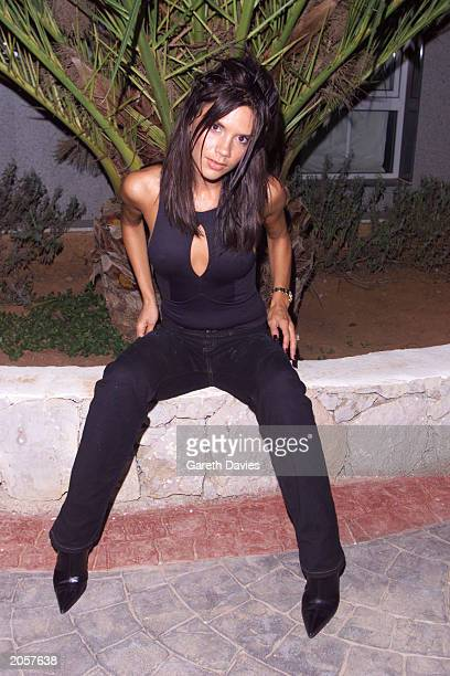 British singer Victoria Beckham at her villa in Ibiza Spain on August 12 2000 Victoria later made an appearance at Eden nightclub in San Antonio to...