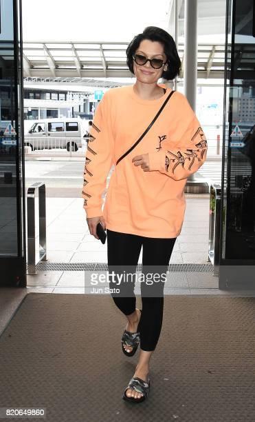 British singersong writer Jessie J is seen at Narita International airport on July 22 2017 in Tokyo Japan
