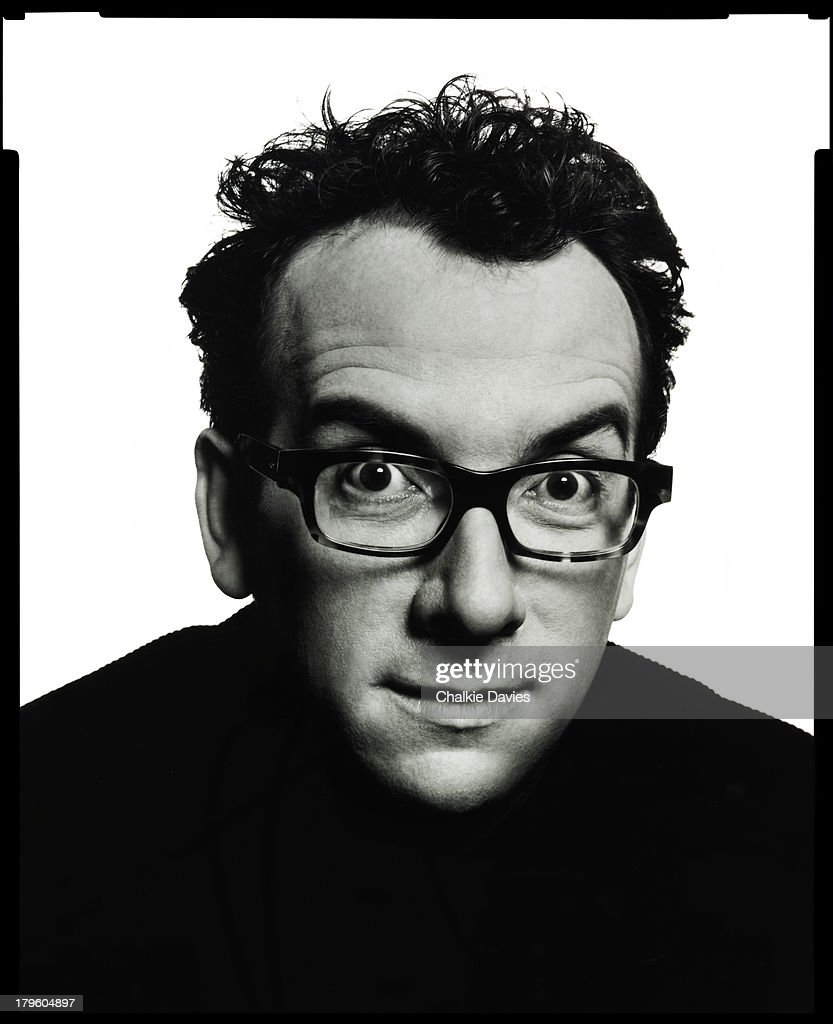 British singer-songwriter Elvis Costello photographed in a studio in New York, 2003.