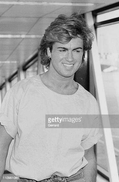 British singersongwriter George Michael arriving at Heathrow Airport London 23rd August 1984