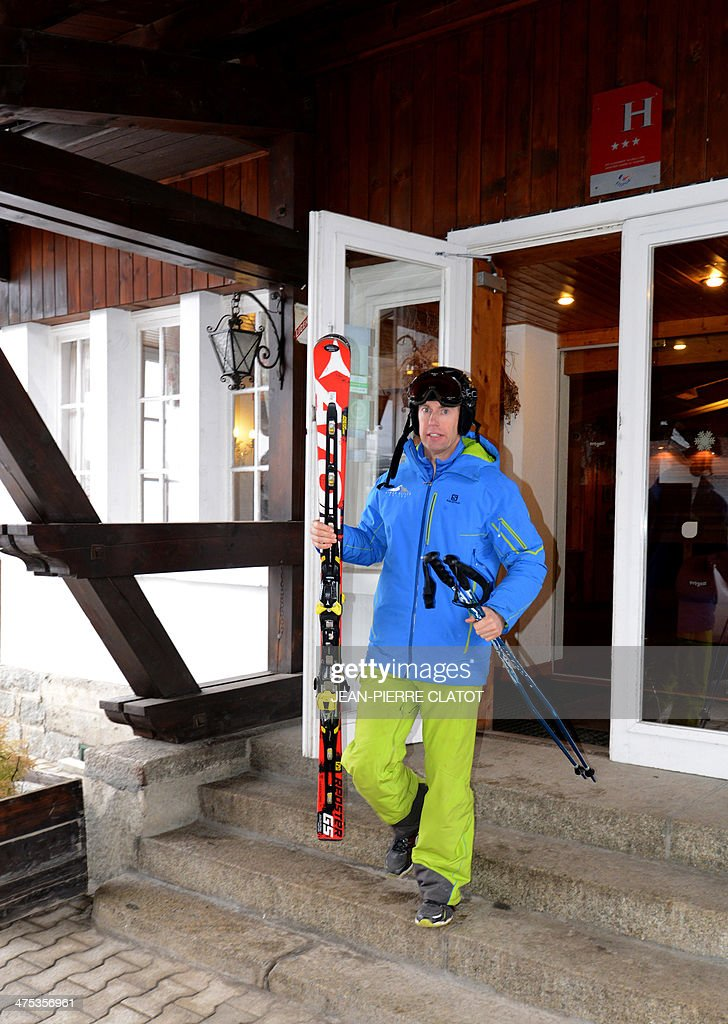 British ski instructor Simon Butler leaves his hotel in Megeve on February 26, 2014. Simon Butler will be on trial in April for delivering ski lessons without having the French required diploma.