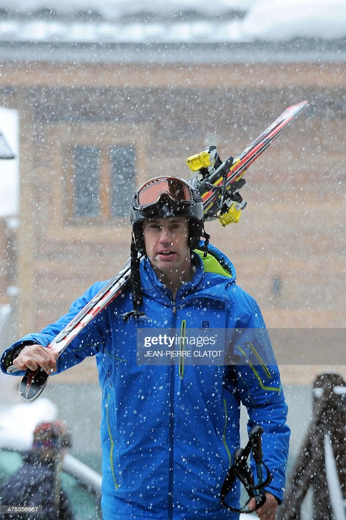 British ski instructor Simon Butler walks in Megeve on February 26, 2014. Simon Butler will be on trial in April for delivering ski lessons without having the French required diploma.