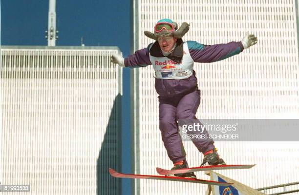 British ski jumper Eddie 'Eddie the Eagle' Edwards flies off the end of a ski jump set up near the World Trade Center in New York 17 November The...