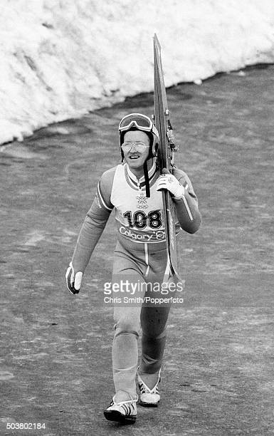 British ski jumper Eddie 'The Eagle' Edwards making his way to the skilift during the Winter Olympic Games in Calgary Canada circa February 1988