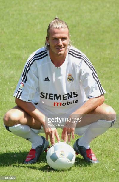 British soccer David Beckham during his presentation as new player of the Real Madrid Football Club July 02 2003 at Raimundo Saporta Stadium in...