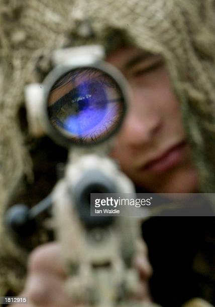 British soldier from 3 Commando Brigade looks through the sight of his sniper rifle at Camp Gibraltar February 24 2003 near Kuwait City Kuwait...