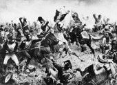British soldier Sergeant Charles Ewart of the Scots Greys capturing the regimental eagle of the 45e Regiment de Ligne at the Battle of Waterloo...
