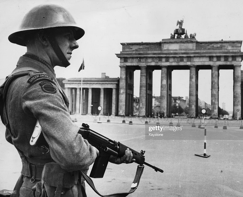 A British soldier standing guard in West Berlin, as the East Germans added further restrictions on the crossing of the East-West border.
