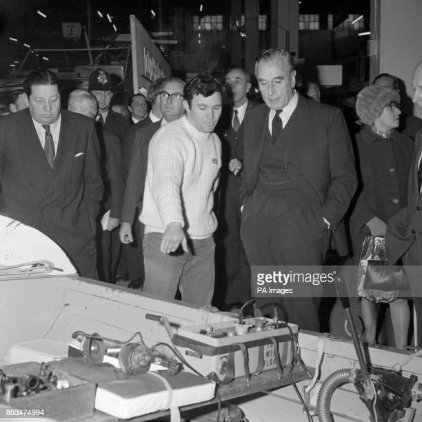 British soldier Tom McClean who rowed the Atlantic alone points out an exhibit to admiral of the Fleet Earl Mountbatten of Burma at the 16th...