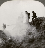 British soldiers advancing under cover of gas and smoke France World War I 1916 A break in the German lines is made through to Serre and Thiepval...