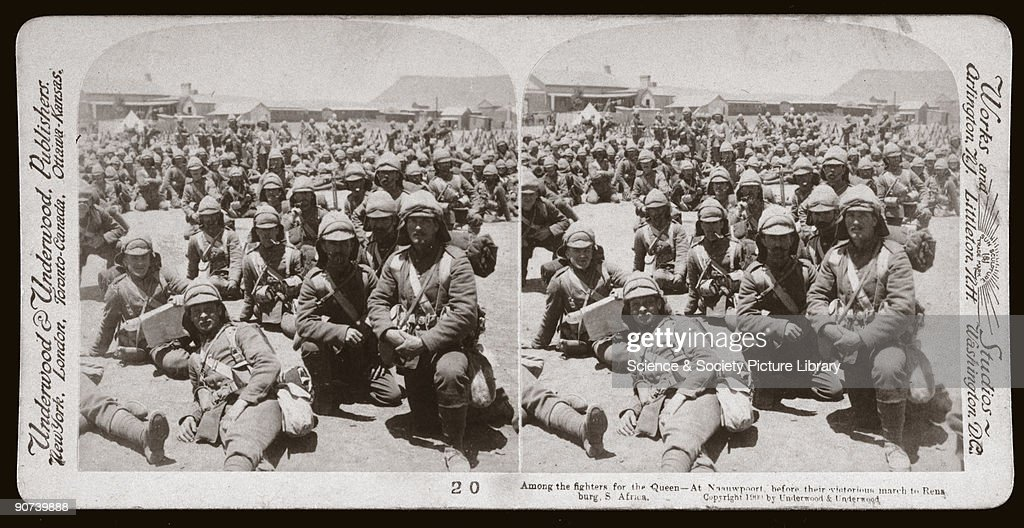 British soldiers at Naauwpoort, Cape Colony, before marching to Rensburg. One of a boxed set of stereoscope photographs produced for sale to the general public by a professional firm of photographers, Underwood and Underwood. The Second Boer War (1899-1902) was the first war to be covered comprehensively by both film and still photography. This was the result of improved technology in both photographic equipment and printing techniques; cameras were more portable and magazines reproduced half-tone photographs. Rensburg was a strategic rail junction in the northern Cape Colony, and was the scene of a victory by British and Empire forces over the Boers in February 1900.