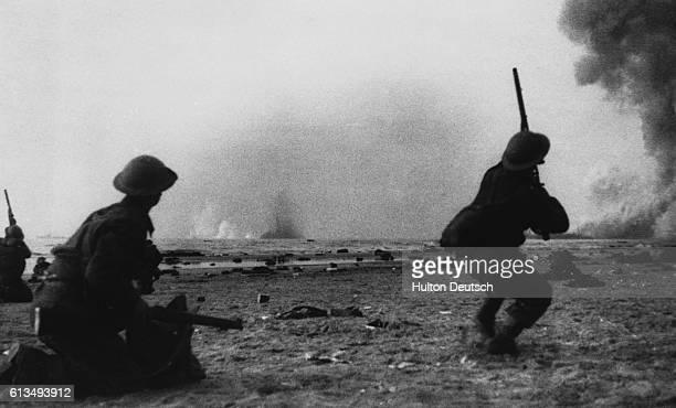British soldiers in the rear guard try to protect others fighting their way to the coast at Dunkirk France during an emergency retreat and evacuation...