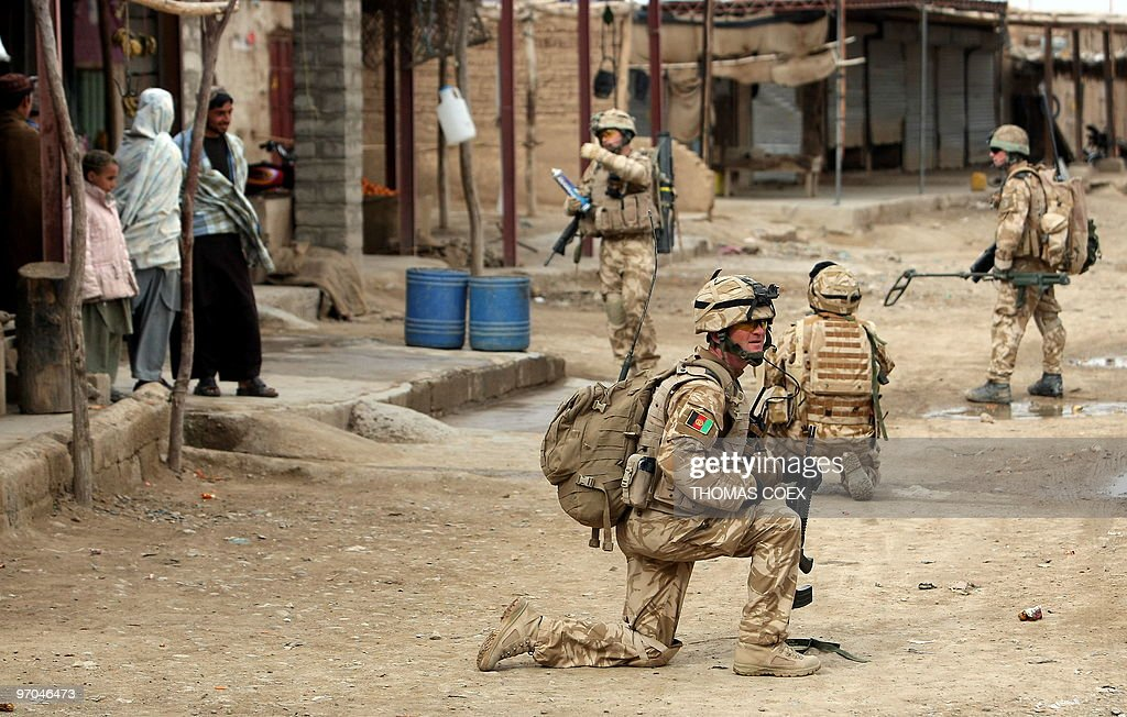 British soldiers of the 1st batallion of the Royal Welsh patrol in the streets of Showal in NadeAli district Southern Afghanistan in Helmand province...