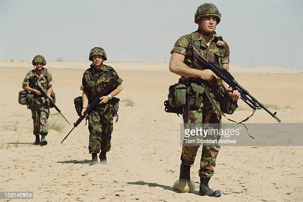 British soldiers of the 39th Royal Engineers shortly after their arrival in Saudi Arabia at the start of the Gulf War 10th October 1990