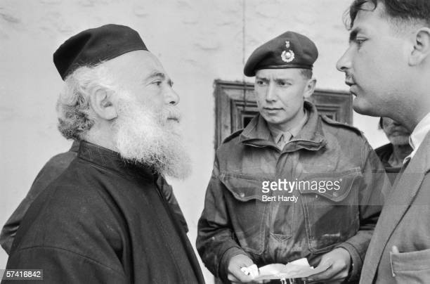 British soldiers question the priests of Kykko monastery in Cyprus during their search for EOKA terrorists 7th April 1956 Original Publication...