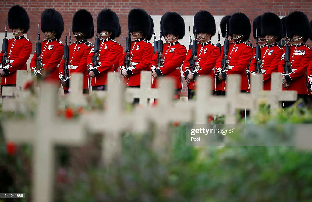 British soldiers stand in line during the 100th anniversary of the beginning of the Battle of the Somme at the Thiepval memorial to the Missing on July 1, 2016 in Thiepval, France. The event is part of the Commemoration of the Centenary of the Battle of the Somme at the Commonwealth War Graves Commission Thiepval Memorial in Thiepval, France, where 70,000 British and Commonwealth soldiers with no known grave are commemorated.