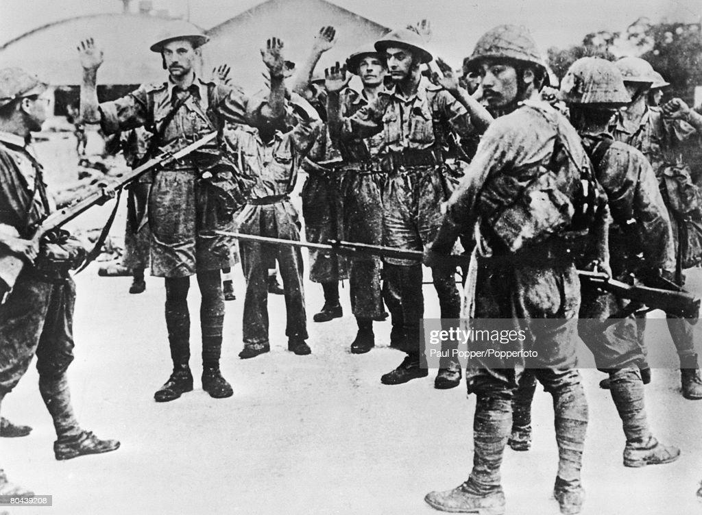 British soldiers taken prisoner by the Japanese in Singapore during World War II circa 1942