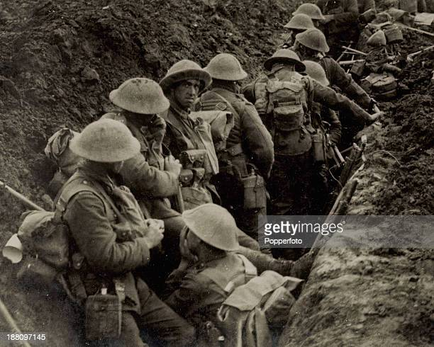 British soldiers waiting to advance from their trench near Menin Road during the Battle of Passchendaele World War I Zillebeke Belgium 20th September...