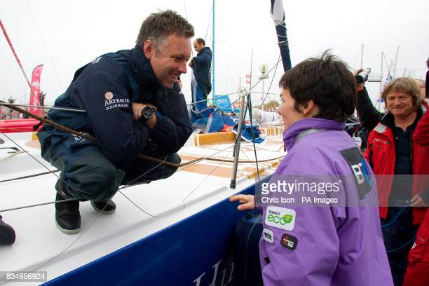 British solo sailor Jonny Malbon speaks to his former boss Dame Ellen MacArthur just before the start of the prestigious Vendee Globe race in Les...