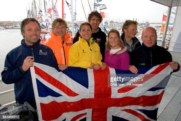 British solo sailors Jonny Malbon Alex Thompson Dee Cafferi Brian Thompson Samantha Davies Steve White and Mike Golding just before the start of the...