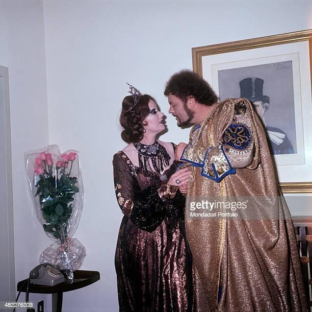 British soprano Gwyneth Jones and Italian bass and baritone Mario Petri performers of the opera Macbeth posing together wearing stage costumes...