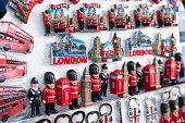 LONDON, UK, JANUARY 23, 2016: Typical London street stall selling tourist souvenirs of classic British cuture on January 23, 2016.