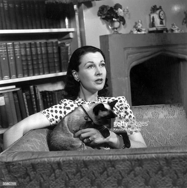 British stage and screen actress Vivien Leigh at home in Chelsea with her Siamese cat 'New'